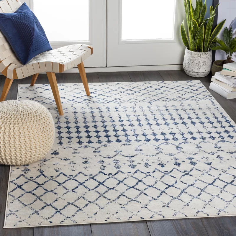 Warlick Dark Blue White Rug Blue And White Rug Vintage Area Rugs Area Rugs