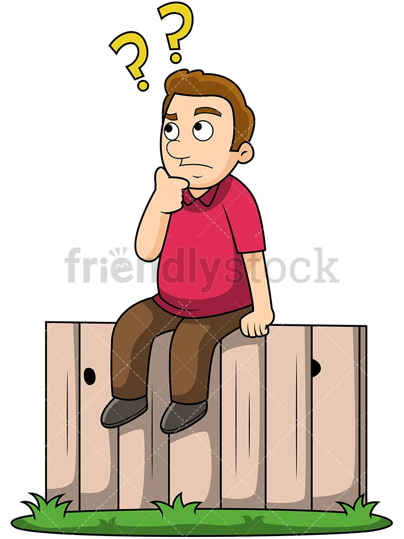hight resolution of young man sitting on the fence royalty free stock image of a man sitting on a wooden fence looking confuded and indecisive conceptual vector illustration