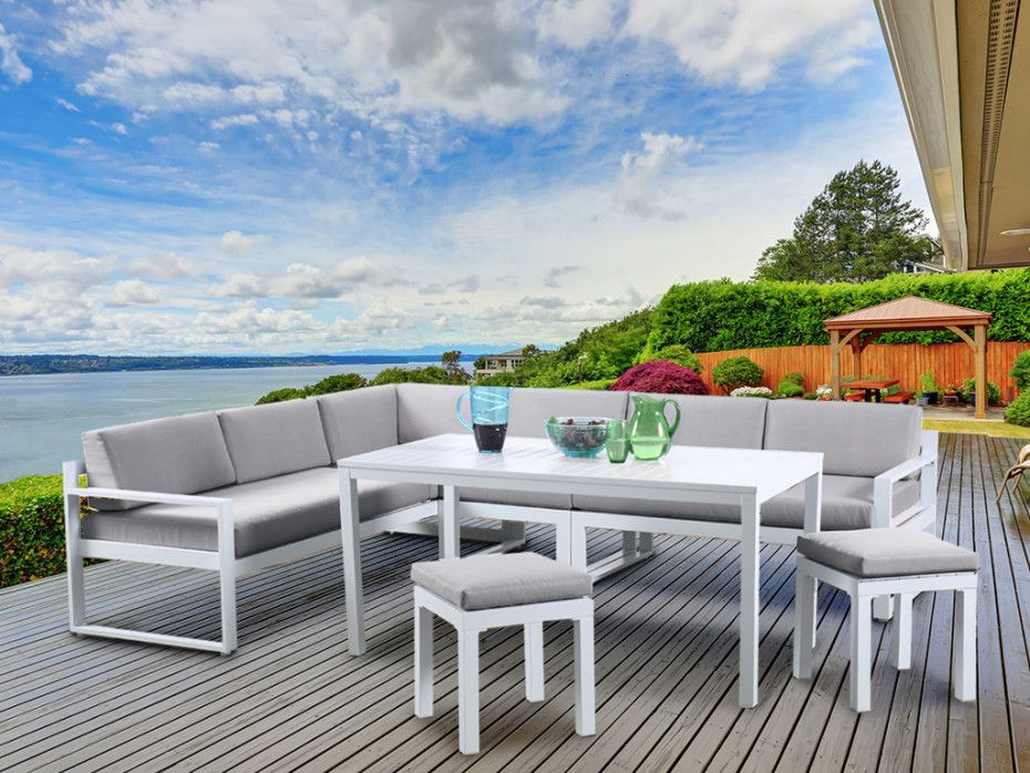 Lot de 2 fauteuils de jardin empilables PALAOS en aluminium - Taupe ...
