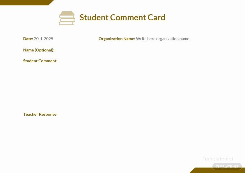 Comment Card Template Word New Student Ment Card Template In Microsoft Word Pdf Sample Business Cards Free Business Card Templates Card Template