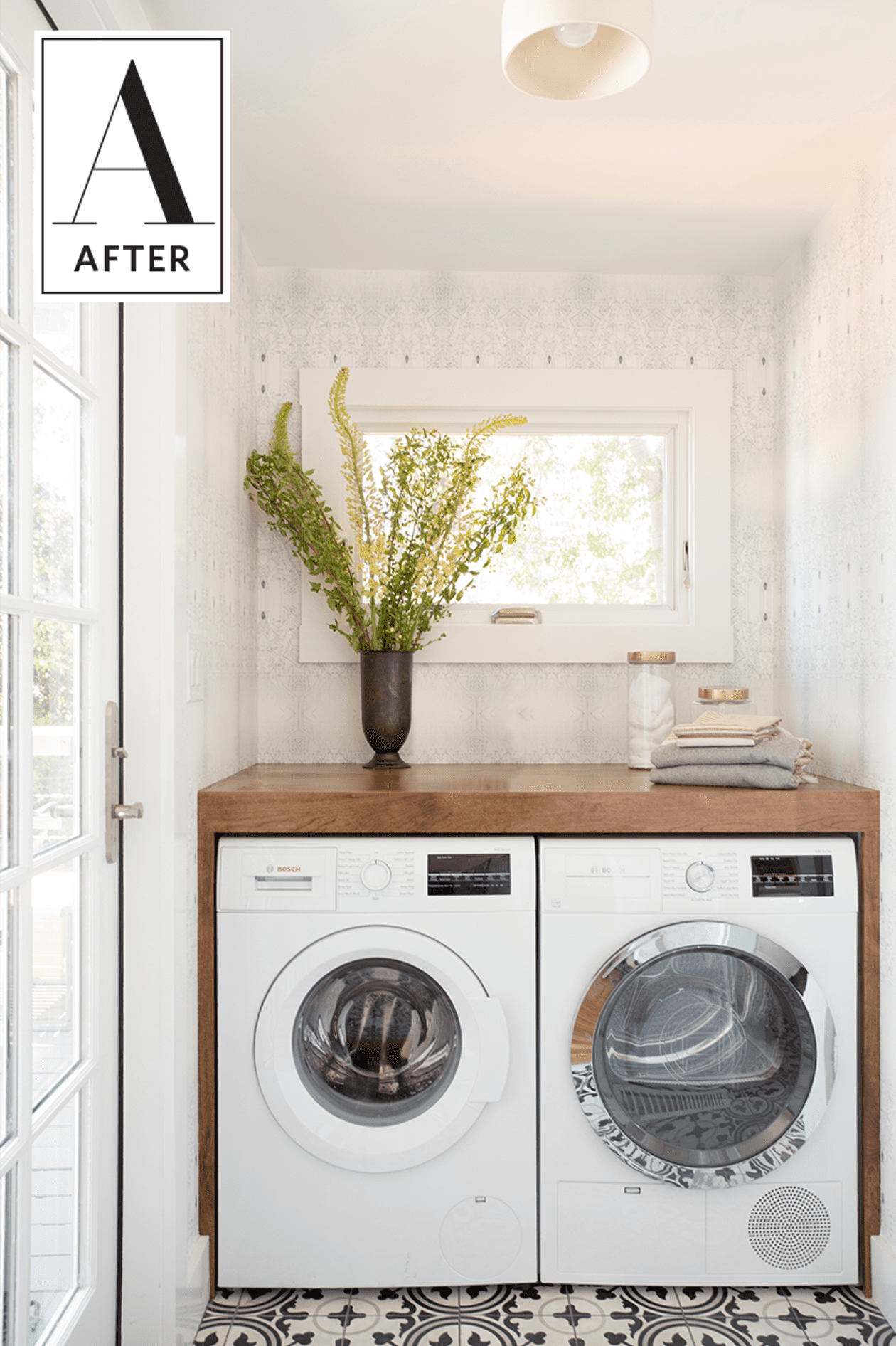 A Small Space Squeezes in a Bathroom & Laundry Room Beautifully