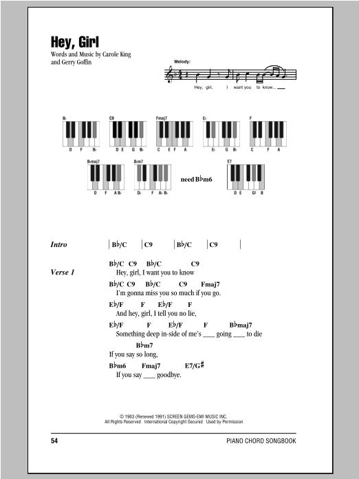 Download Piano Chordslyrics Sheet Music To Hey Girl By Billy Joel
