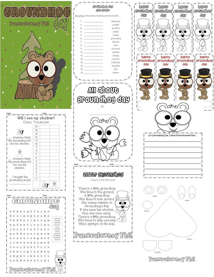 Groundhog Day activities, coloring pages, bookmarks, writing, and ...