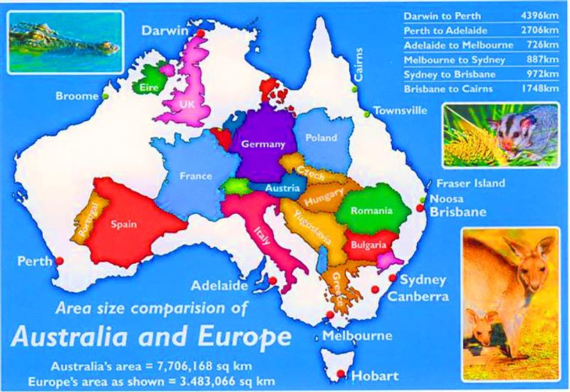 how far away is australia and how big is our country