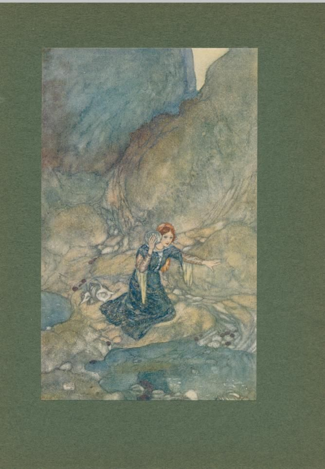 Young maiden by a reflecting pool 1908 original vintage Dulac color print