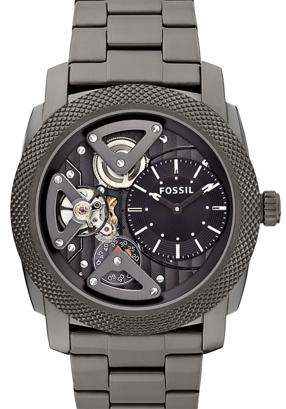 2e5a44ba45a75 Love Fossil... MACHINE TWIST Stainless Steel   Leather - Smoke Our  industrial-