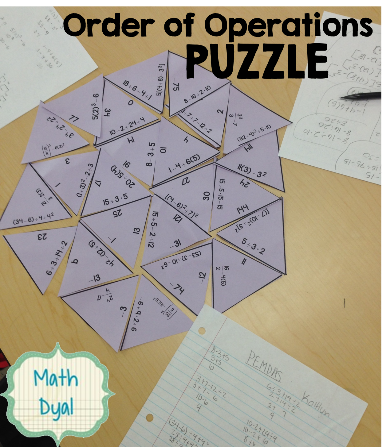 Order of Operations Puzzle Math Grades 712 Order of