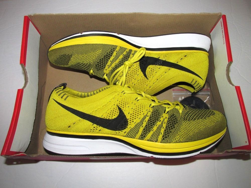 0c76e36eba3d Nike Flyknit Trainer Mens Running Shoes Bright Citron Black White  Nike   RunningShoes