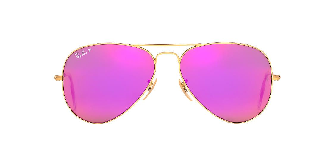 RAY-BAN Gold Matte RB3025 58 ORIGINAL AVIATOR Pink polarized lenses 58mm