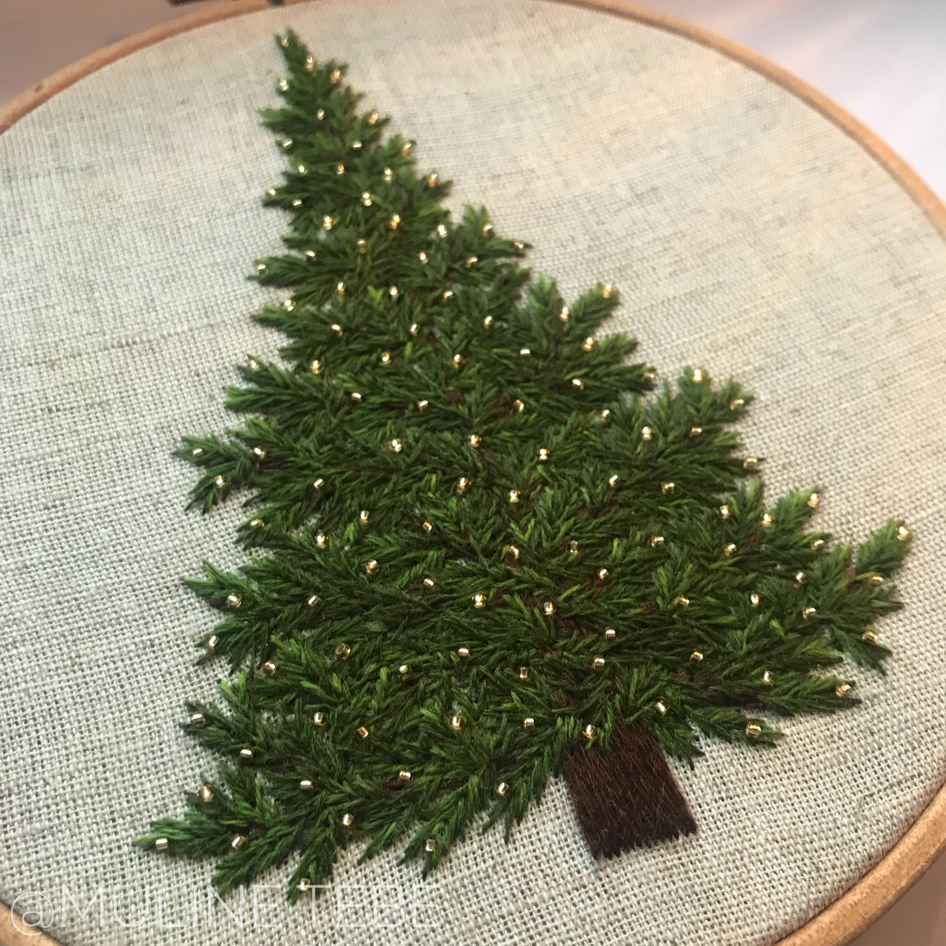 Christmas Tree With Toho Beads Christmas Embroidery Patterns Embroidery Art Hand Embroidery Art