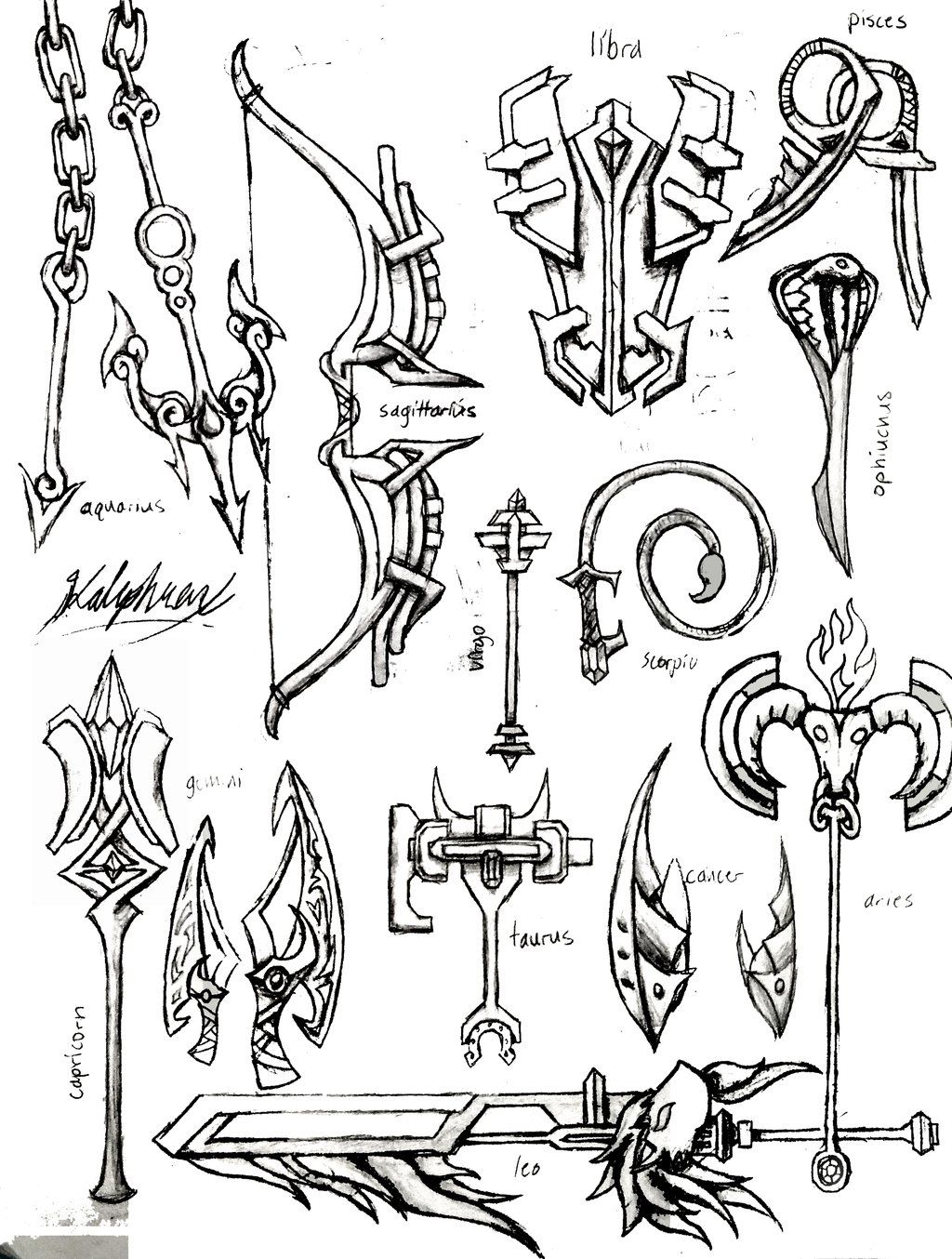 Zodiac Weapons by Kalephrex | LineArt: Fairy Tail in 2019