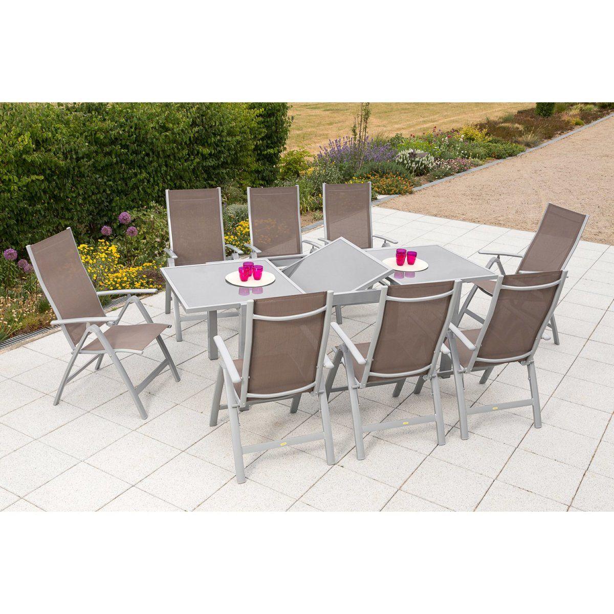 Gartenmöbel-Set Carrara 9-tlg. Taupe inkl. Tisch 160/220 cm x 90 cm ...