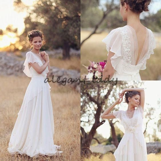 Hippie Country Wedding Dresses 2018 Vintage Retro V-neck