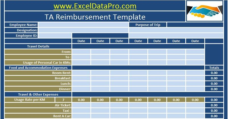 Download Employee Ta Reimbursement Excel Template Travel
