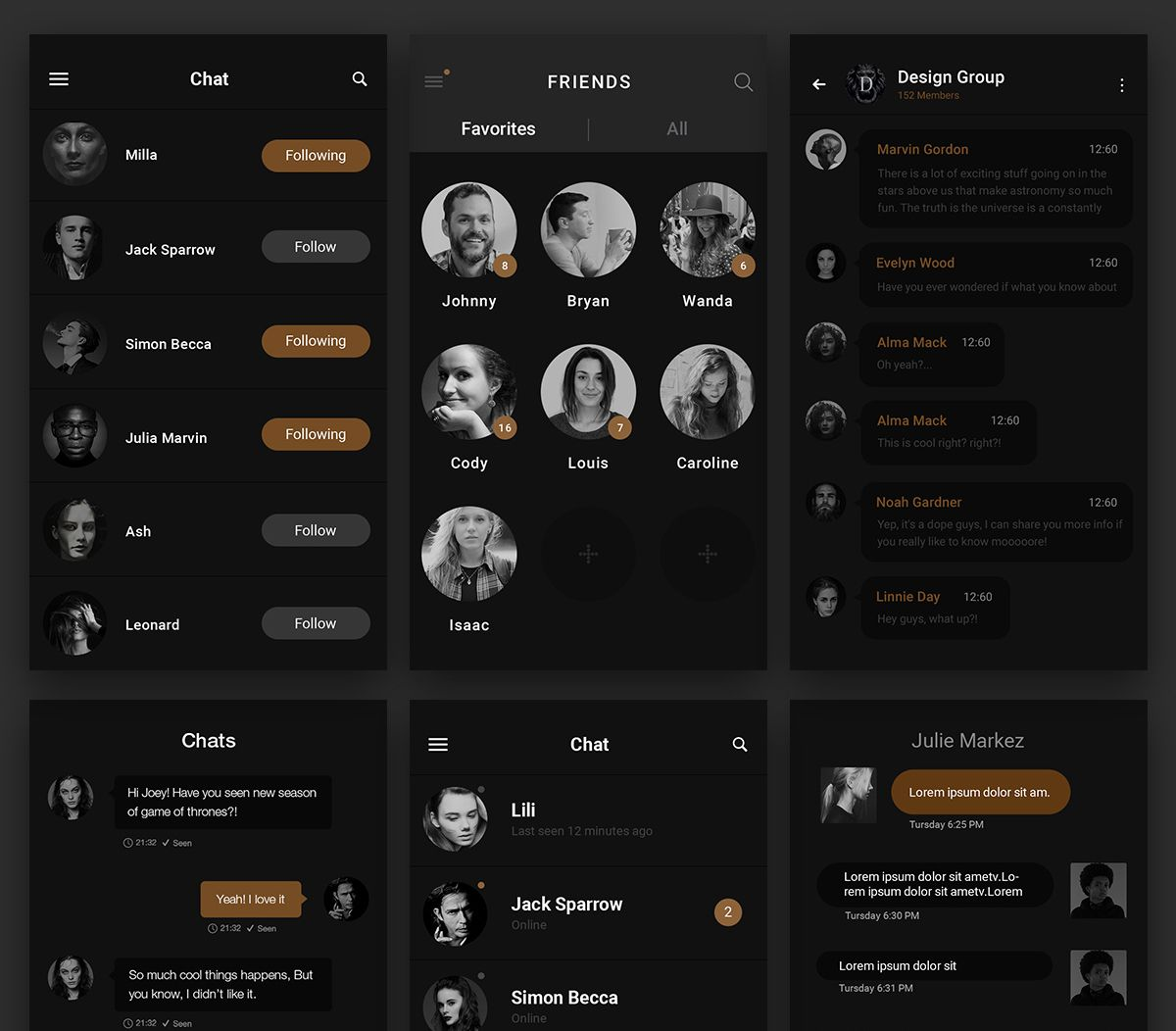 Download Dark Chat Messenger UI Free PSD  This instant