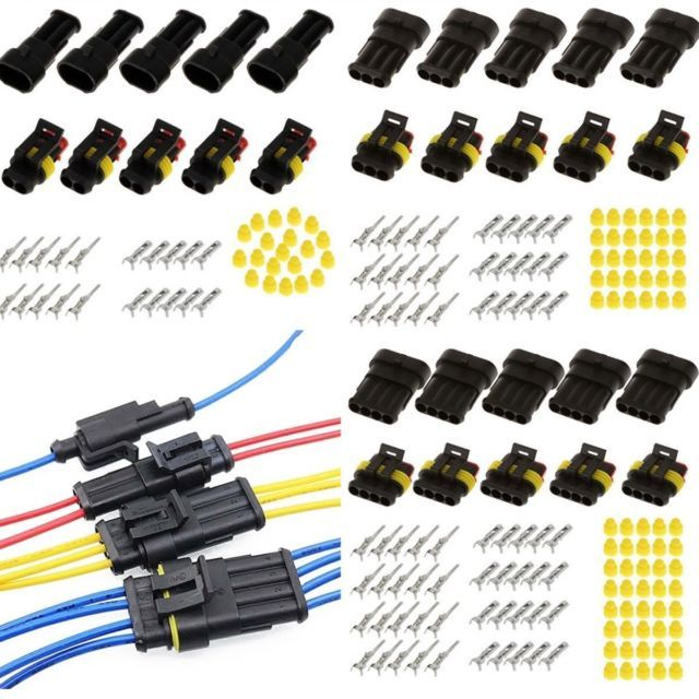 UK Car 3 Pin Way Sealed Waterproof Electrical Wire Auto Connector Plug Set