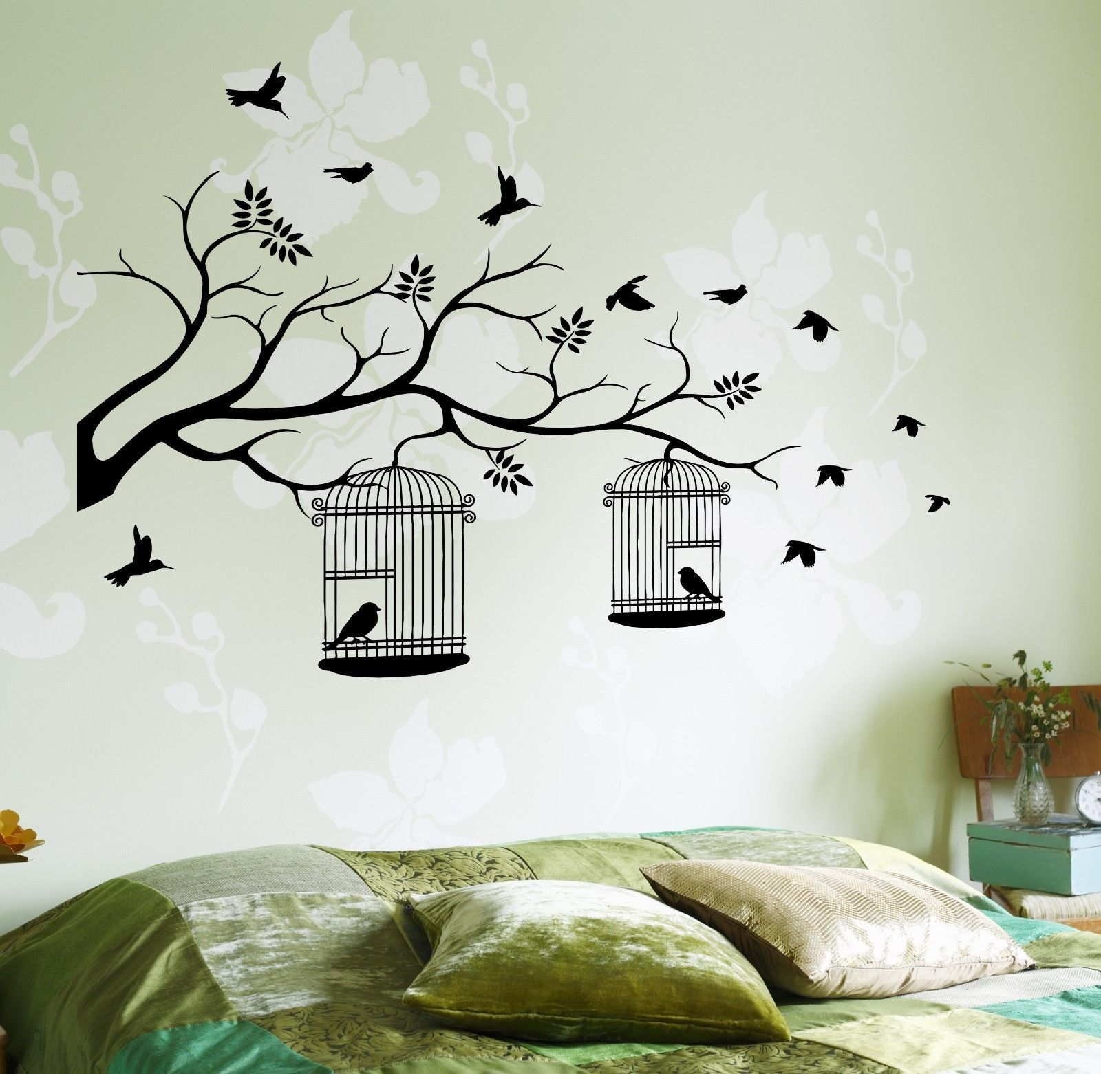Details about wall decal birds cage tree branch nature vinyl sticker