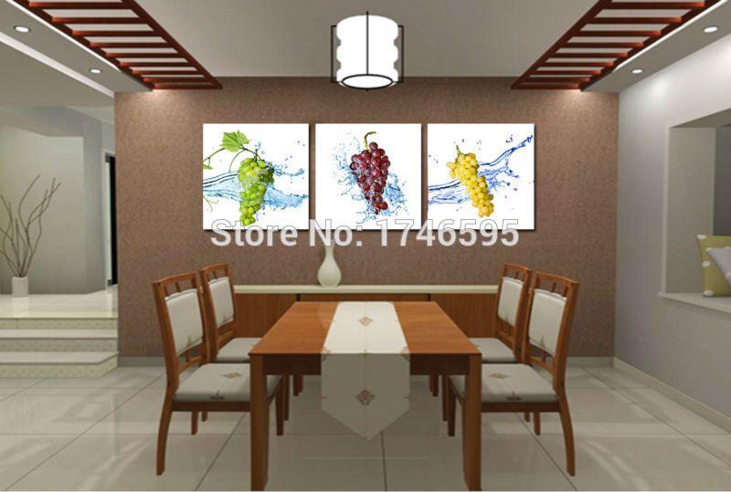 Big 3pieces modern home wall decoration grape fruit ...