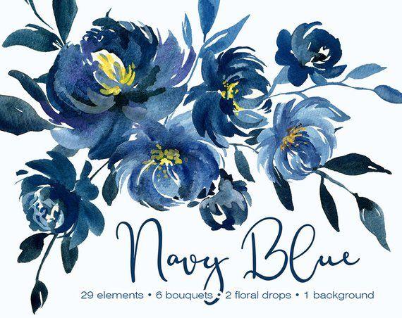 Navy Watercolor Floral Clipart Flowers Wedding Indigo Dark