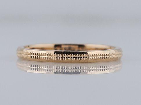 Filigree Jewelers :: Vintage Wedding Band Mid Century Geometric Pattern in 14k Yellow Gold. Minneapolis, MN