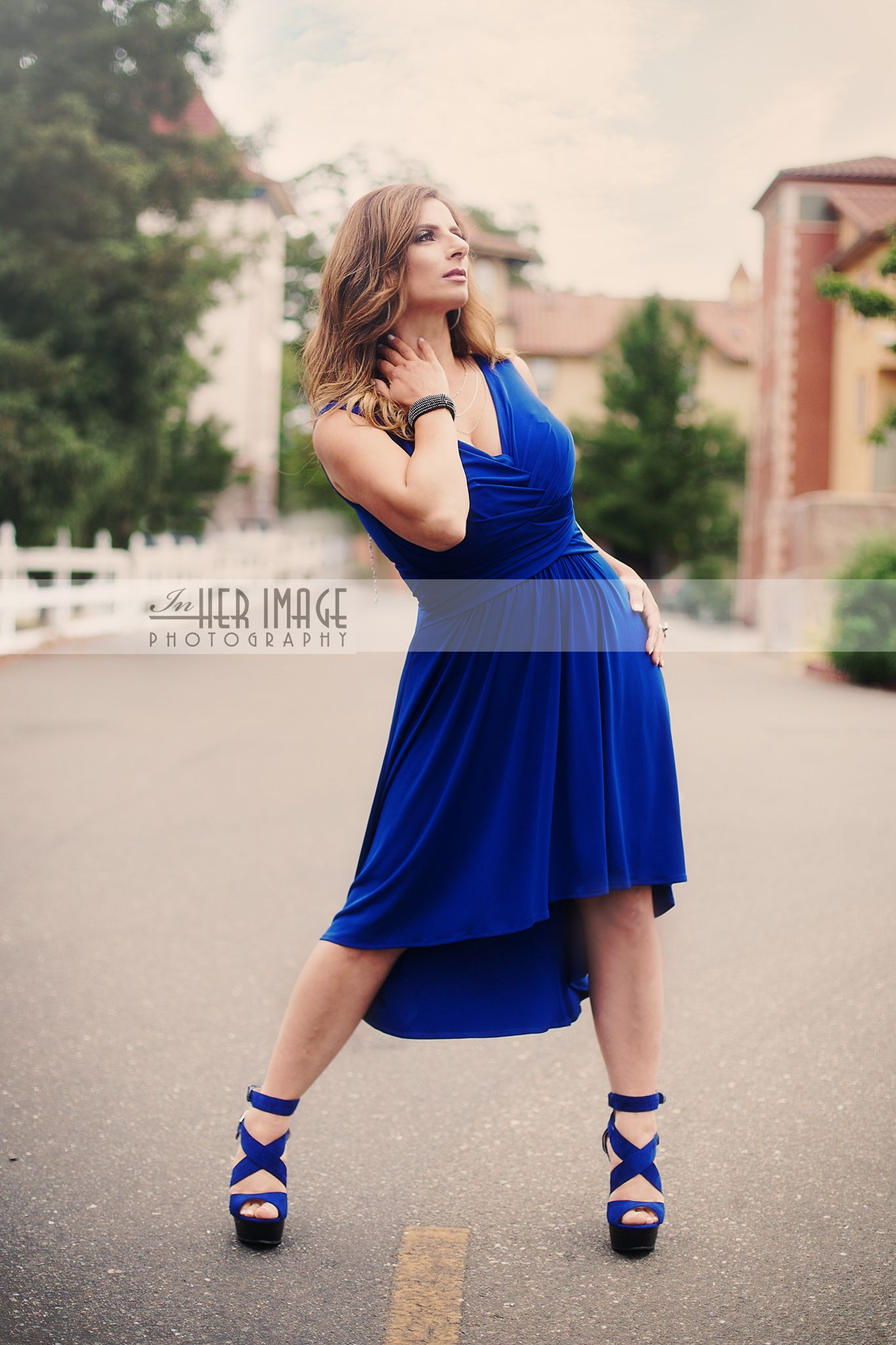 www.inherimagephoto.com Copyright In Her Image Photography 2014 All Rights Reserved  #fierce #blue dress #blue #gorgeous #goddess #pose #portrait #gorgeous #shoes #blue shoes #heels #blue heels #beautiful