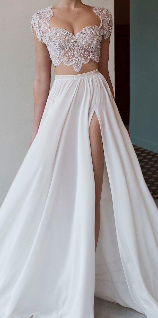 Two Piece Dress Lace Top Wedding Dress Modern Wedding Dress Bridal Dresses