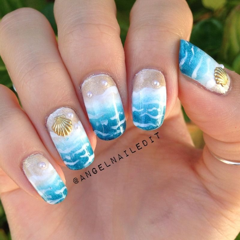 Summer beach nail art by Angel Son - 18 Beautiful Stamping Nail Art Design Ideas 2015 #stampingnails