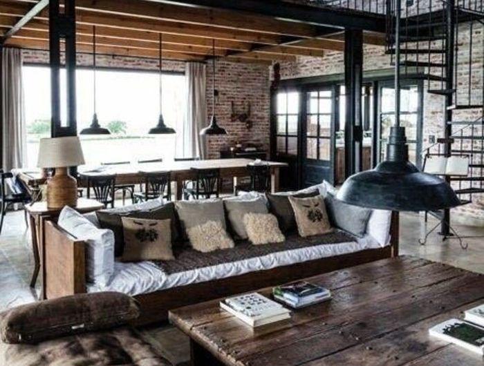 salon,style,industriel,avec,canape,marron,foncé,salon,d,esprit,loft ,meubles,marrons,lampe,de,salon