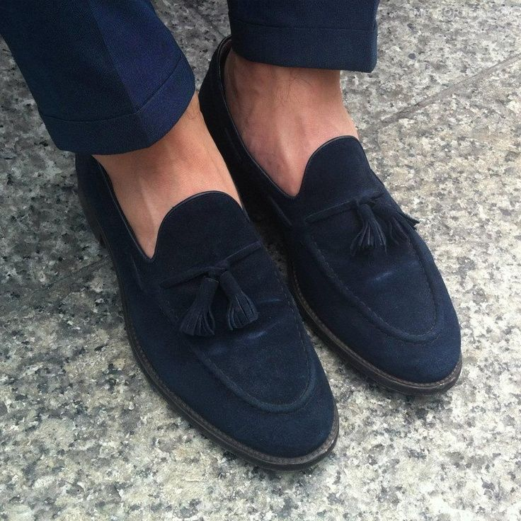 Navy Suede Tassel Loafers and Cuffed