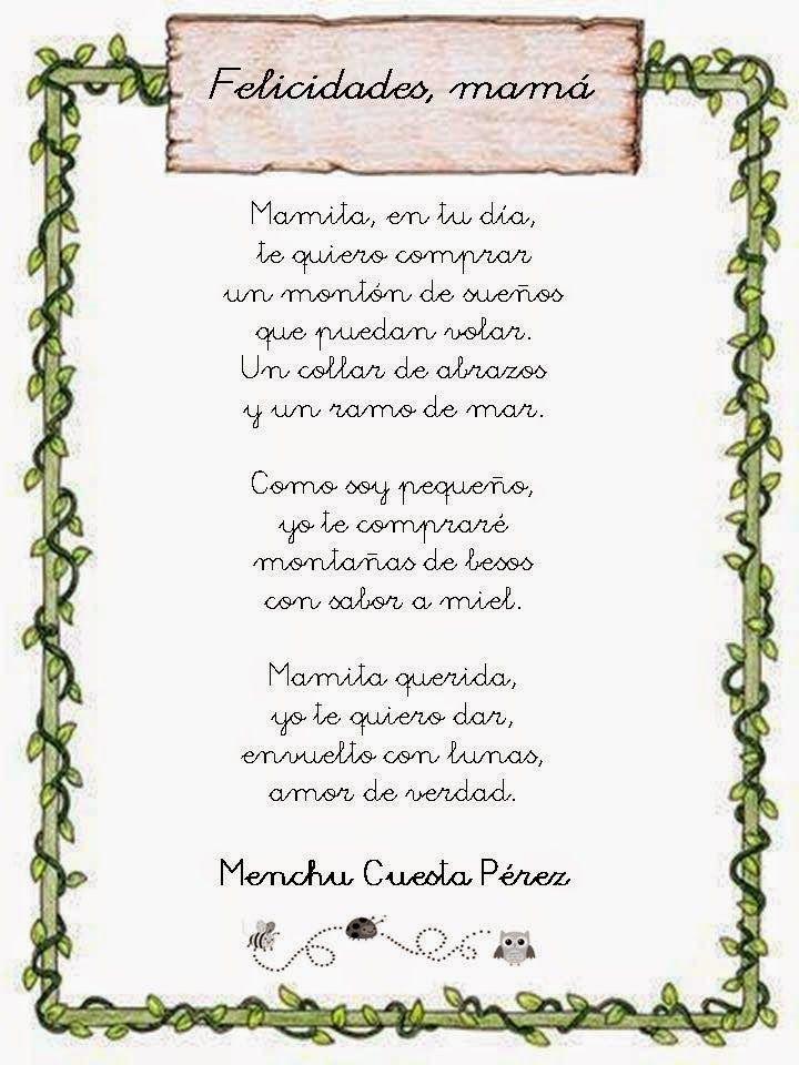 Recursos Didácticos Para La Etapa De Educación Infantil Poema Día De La Madre De Menchu Poema Para La Madre Dia De Las Madres Manualidades Día De Las Madres