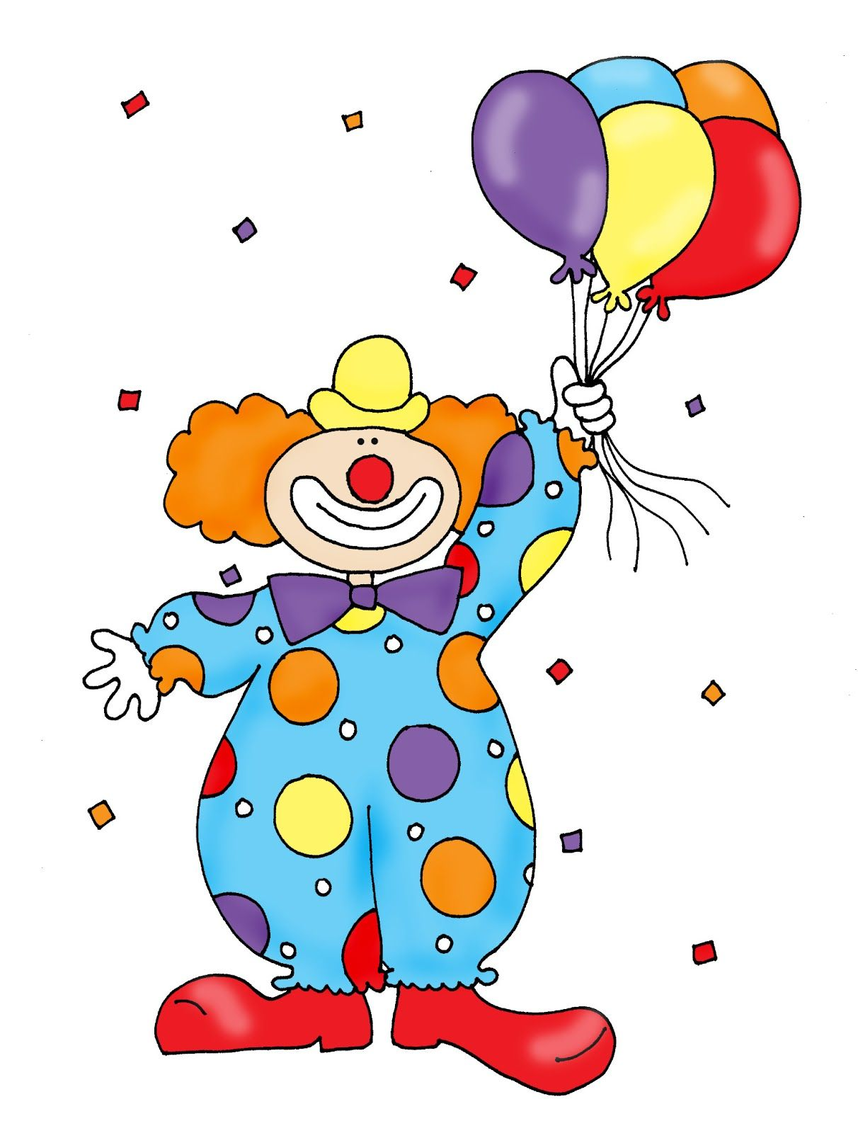 Clown Holding Balloons Coloring Page cartoon clipart of a black and ...