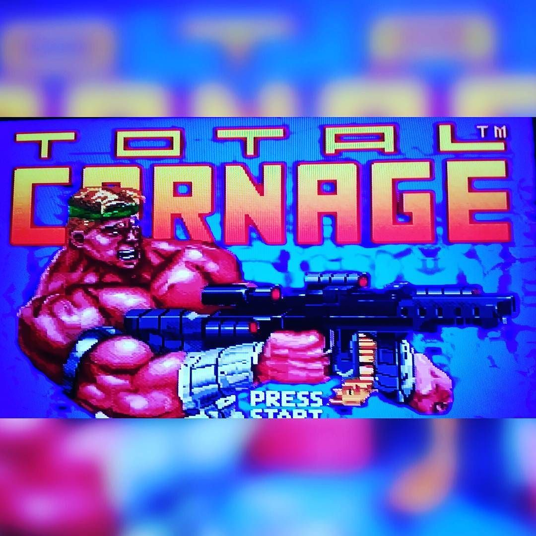 On instagram by vegan_gamer #supernintendo #microhobbit (o) http://ift.tt/1LXpLqp yeah this is happening right now #totalcarnage #oldschoolgamer #life #gamer  #vegangamer  #malibugames #1992 #nintendo #oldschool