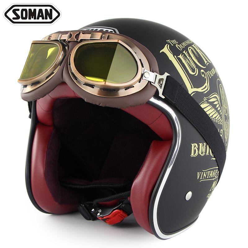Motorcycle Helmet Retro Scooter Casque Motorbike 3//4 Open Face Jet Dot Vintage