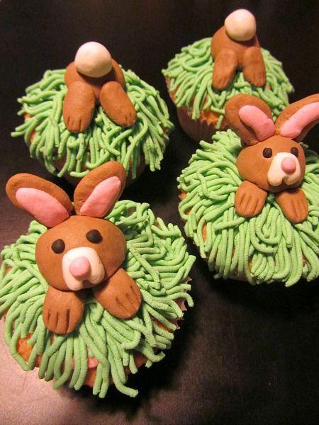 Haasjes cupcakes voor Pasen
