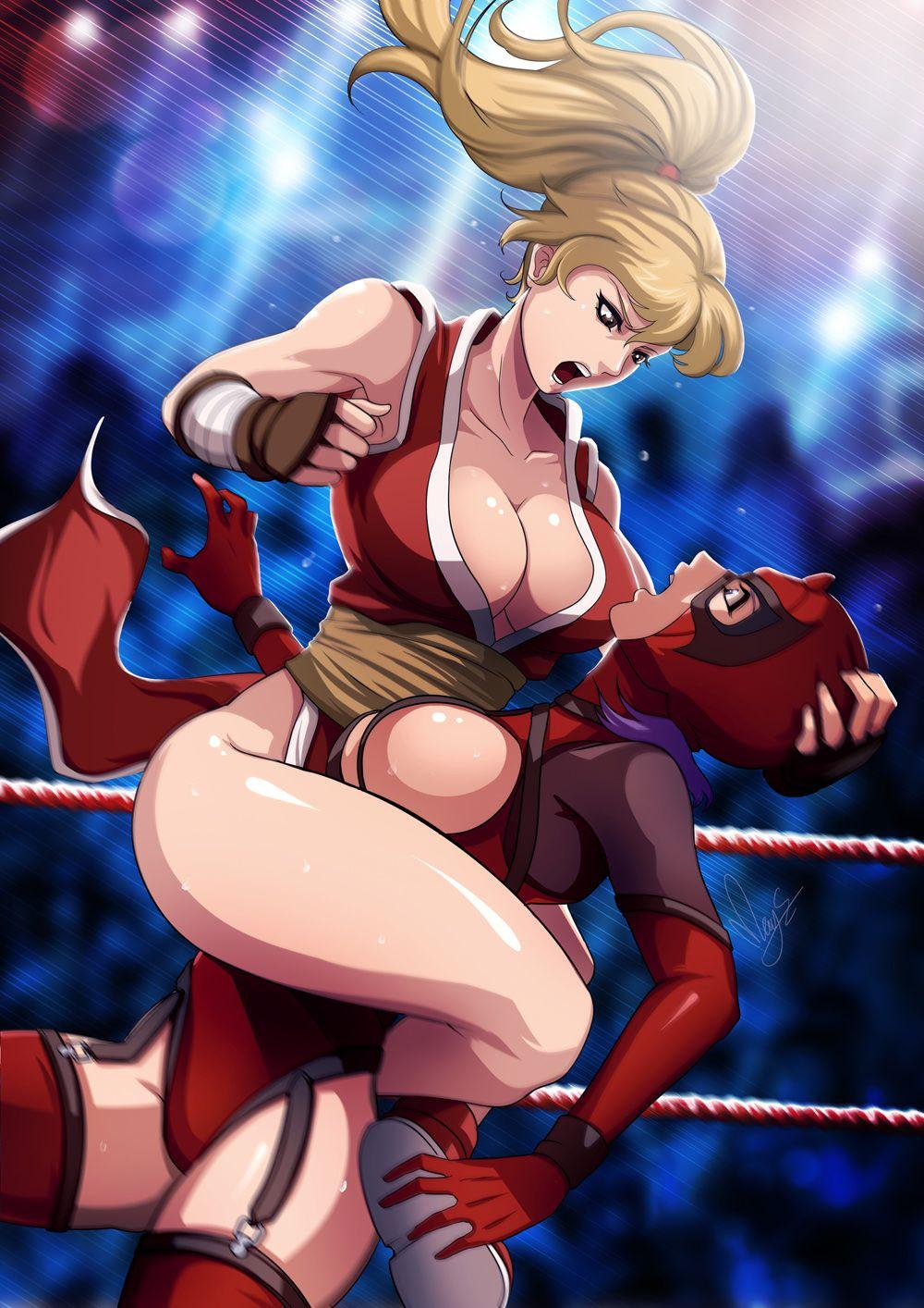 Sexy anime girls wrestling