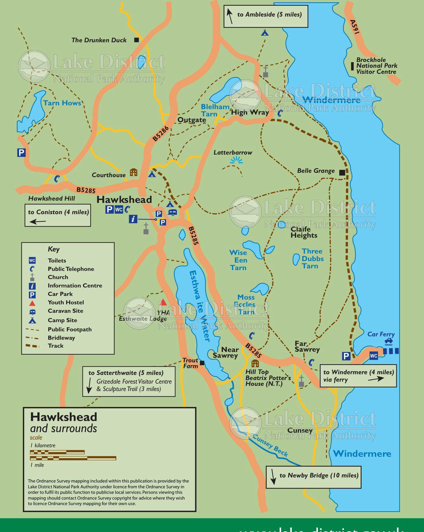lake district hiking map Hawkshead Lake District Walks Lake District Centre Parks lake district hiking map