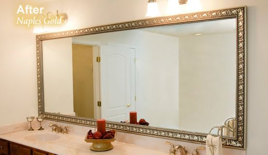 Frame That Plain Bare Mirror Transform The Look Of Your Bathroom Mirror In Minutes With A Mirrormate Frame It S Bathroom Mirror Frame Mirror Mirror Frames