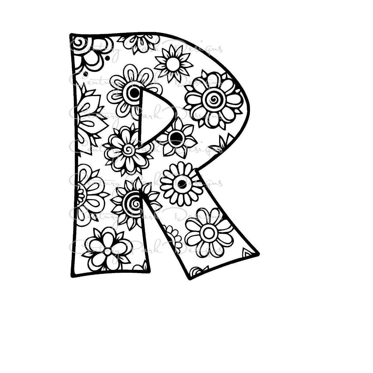 Letter R Alphabet Flowers SVG JPEG PNG Pdf Use With Silhouette Studio And Cricut Design Space