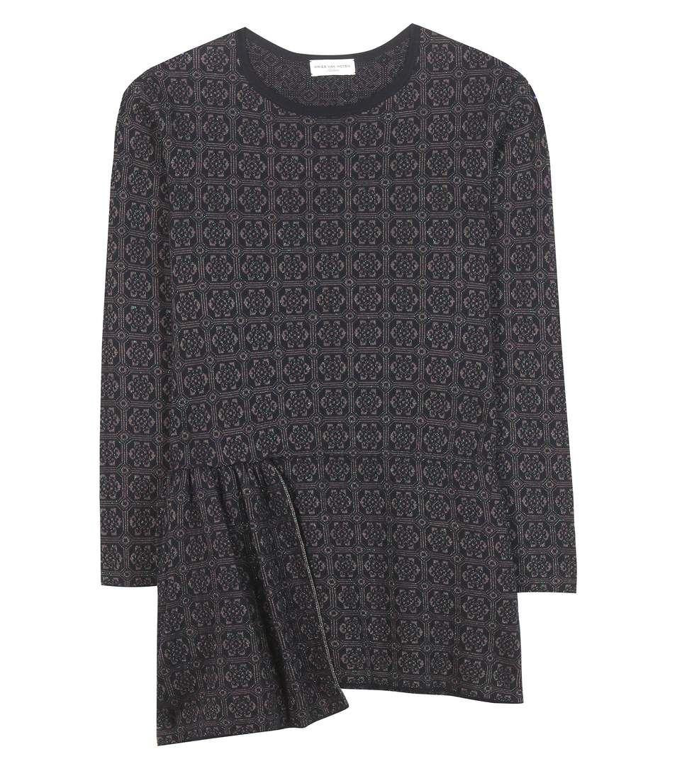 DRIES VAN NOTEN Merino Wool-Blend Peplum Sweater. #driesvannoten #cloth #clothing