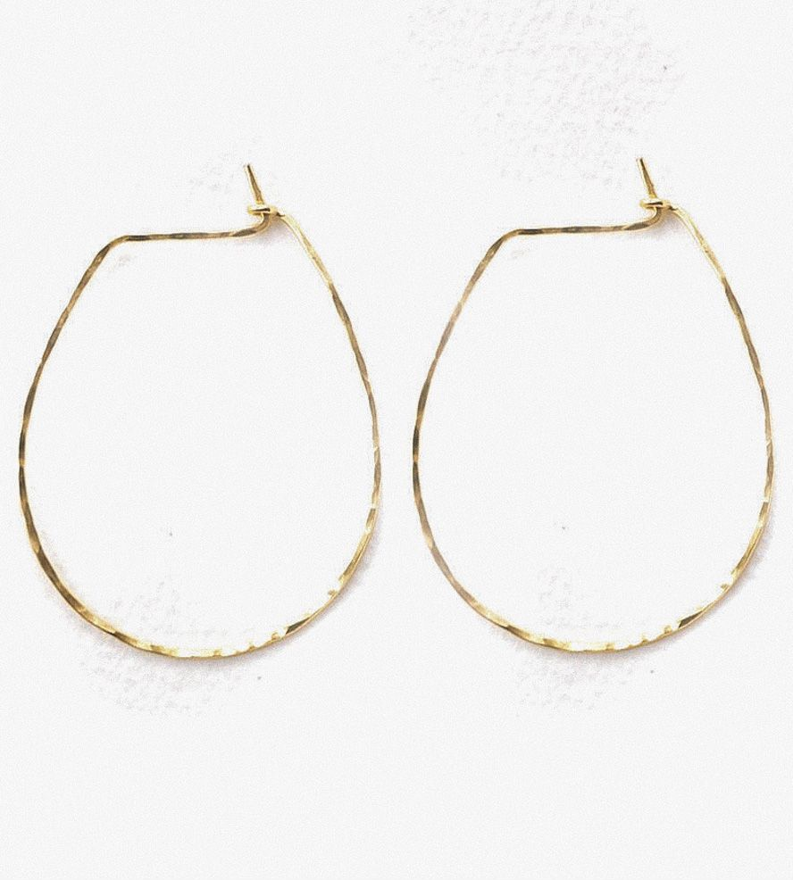 Hammered Gold Horseshoe Hoop Earrings