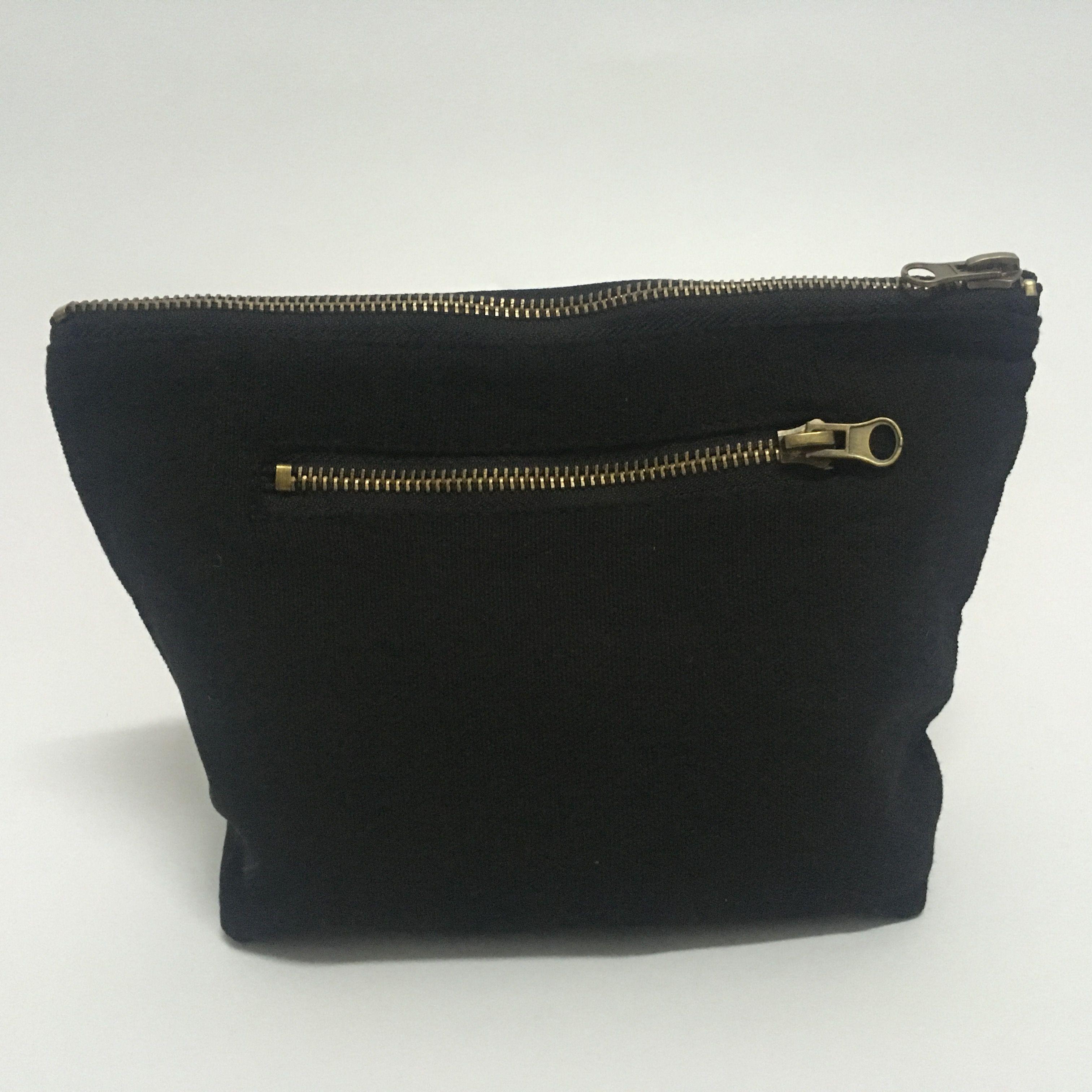 Personalized black wholesale canvas cosmetic bag, 12oz