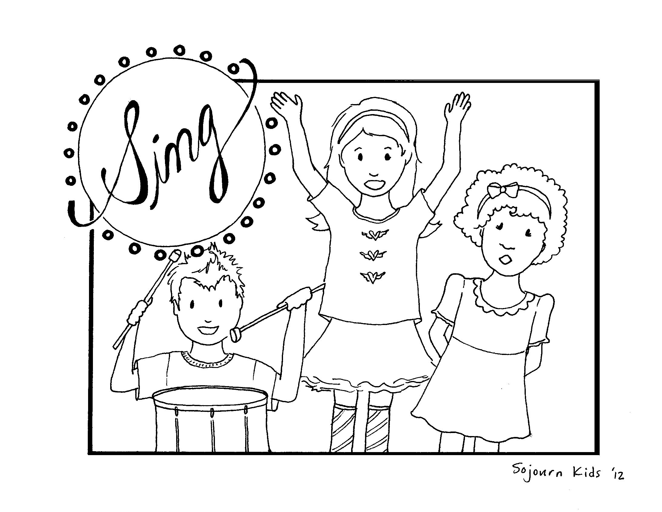 Free Coloring Pages Children Singing in Church Sunday