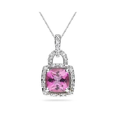 Cushion Cut Pink Topaz and Diamond Pendant in 10K White Gold