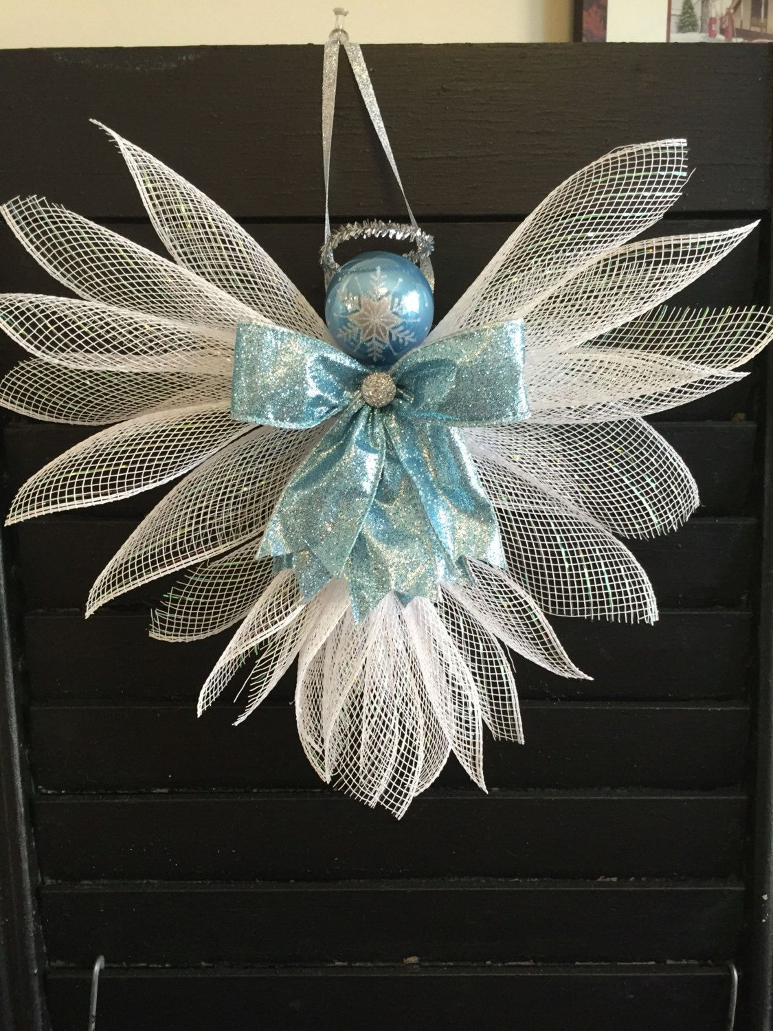 large angels made out of deco mesh and ribbons  large