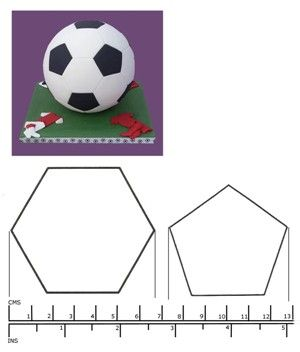 Kit box cutters football cutters hexagon and pentagon for Football cookie cutter template