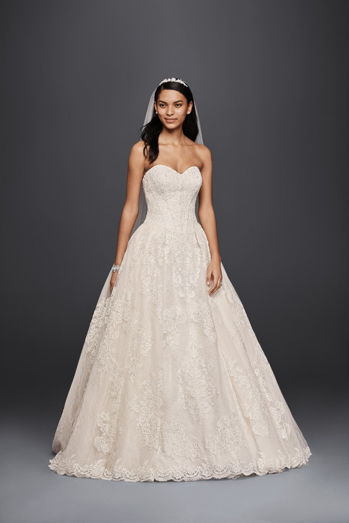 76a7b2055c02 Strapless Sweetheart Beaded Lace Ball Gown Oleg Cassini Wedding Dress at  David's Bridal
