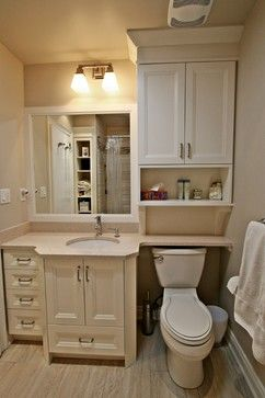 First St Residence Traditional Bathroom Toronto By Interior Works Inc Small Bathroom Remodel Small Bathroom Makeover Small Bathroom Cabinets Bathroom cabinets over the toilet
