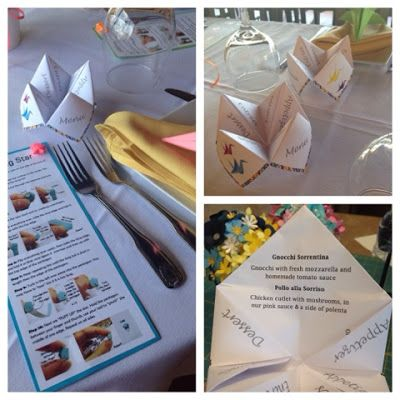 Origami Menu Cootie Catcher For An Origami Themed Baby Shower