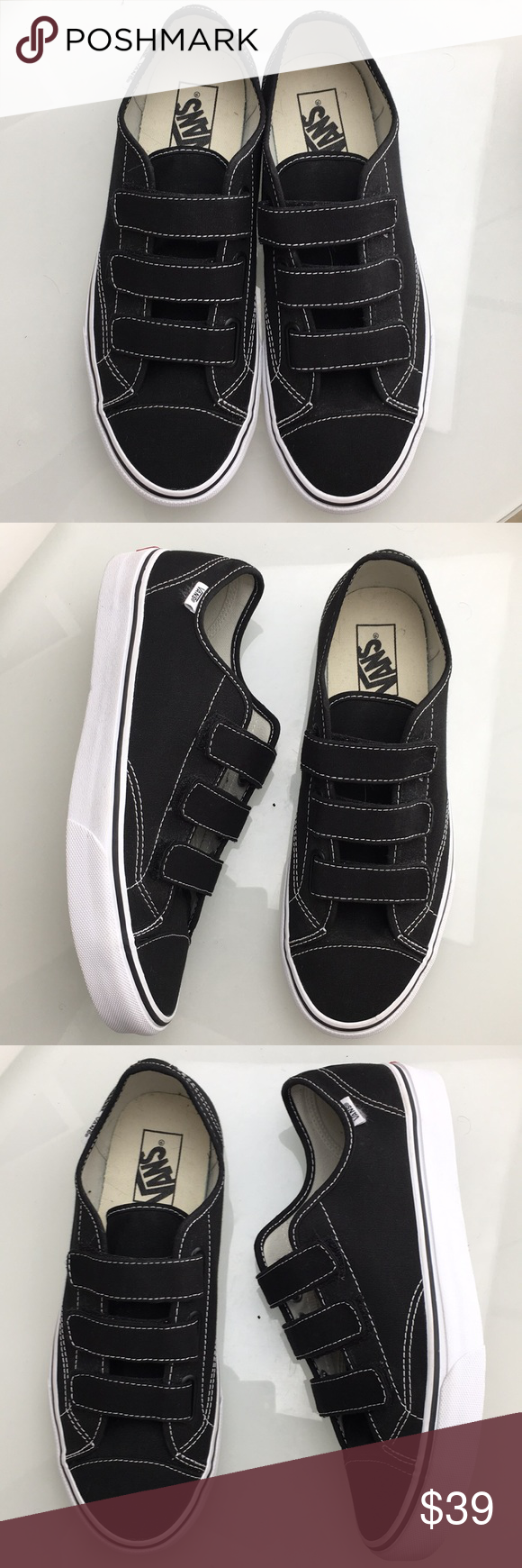 2ce3006f Vans 3 Strap Black White Sneakers Mens 10 Excellent used condition ...