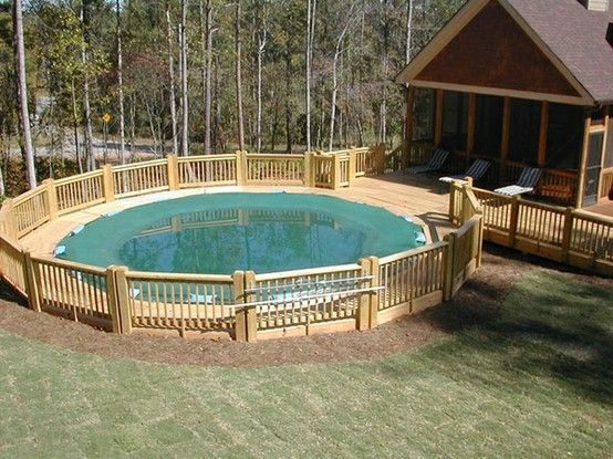 Deck attached to an above ground pool looks built in for Built in swimming pools
